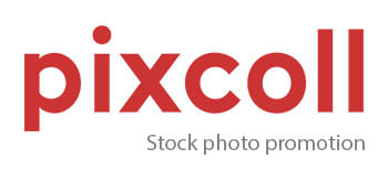 logo Pixcoll stock photo promotion