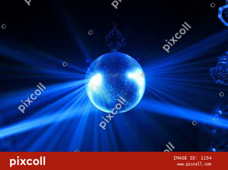 Disco ball with blue bright rays