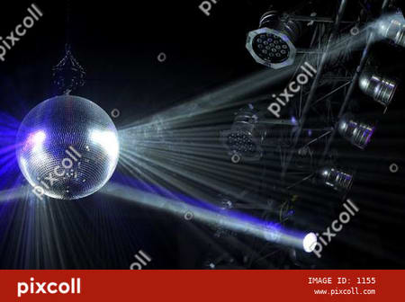 Disco ball with white bright rays